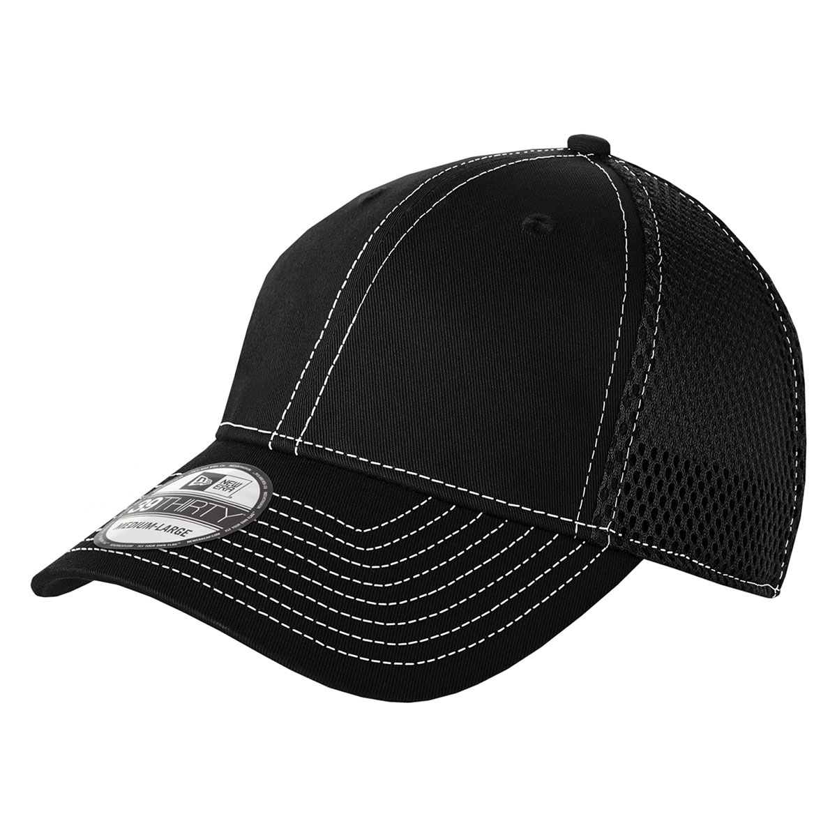 Black/White New Era® Stretch Mesh Contrast Stitch Cap