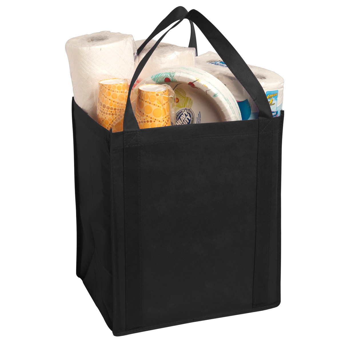 Black Large Non-Woven Grocery Tote