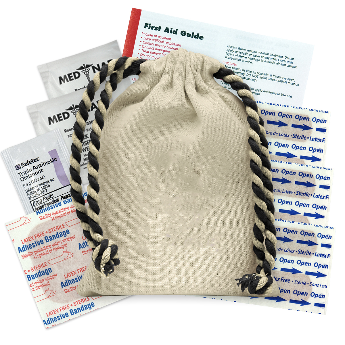 Natural with Black Drawstring Handy Canvas First Aid Kit