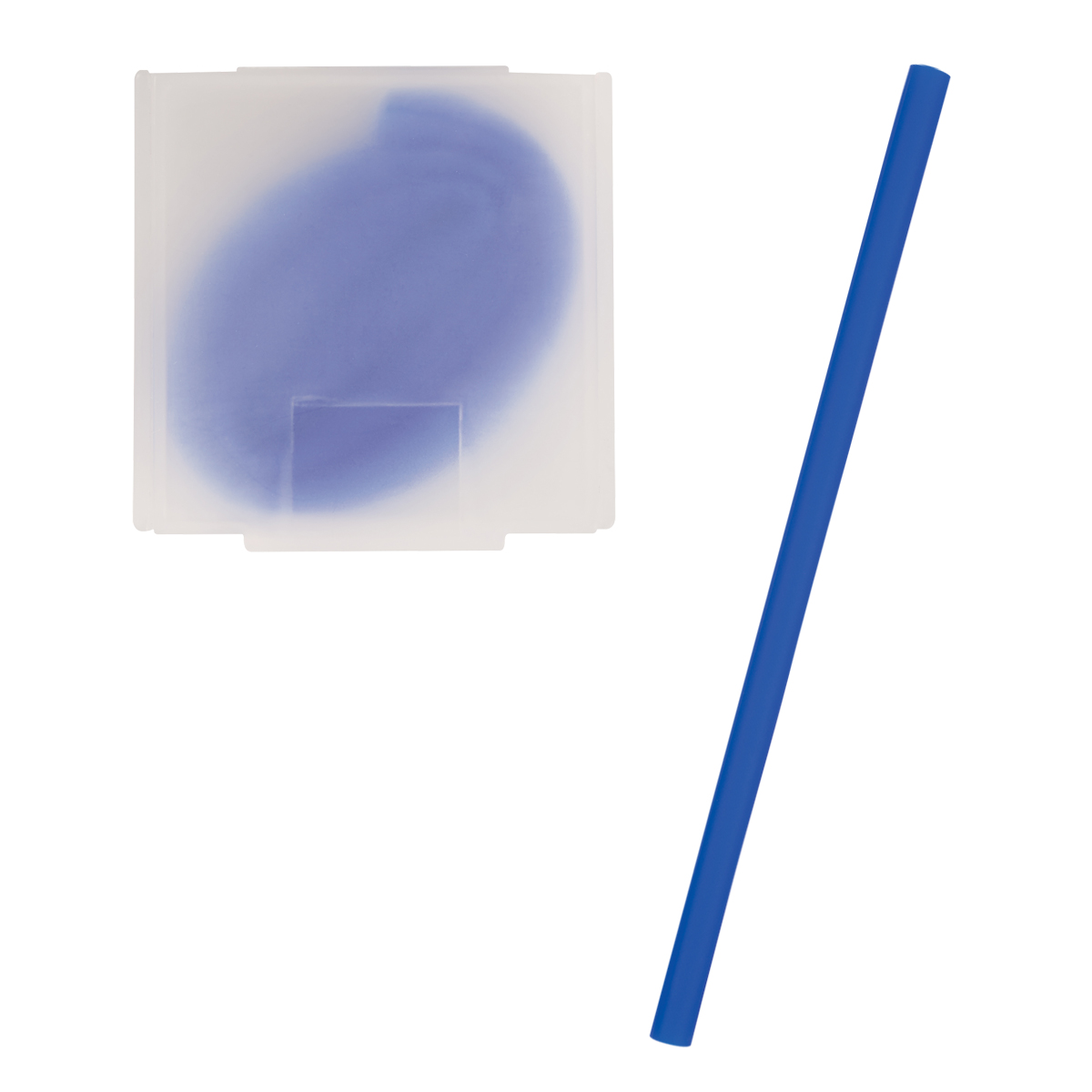 Blue Silicone Straw In Case