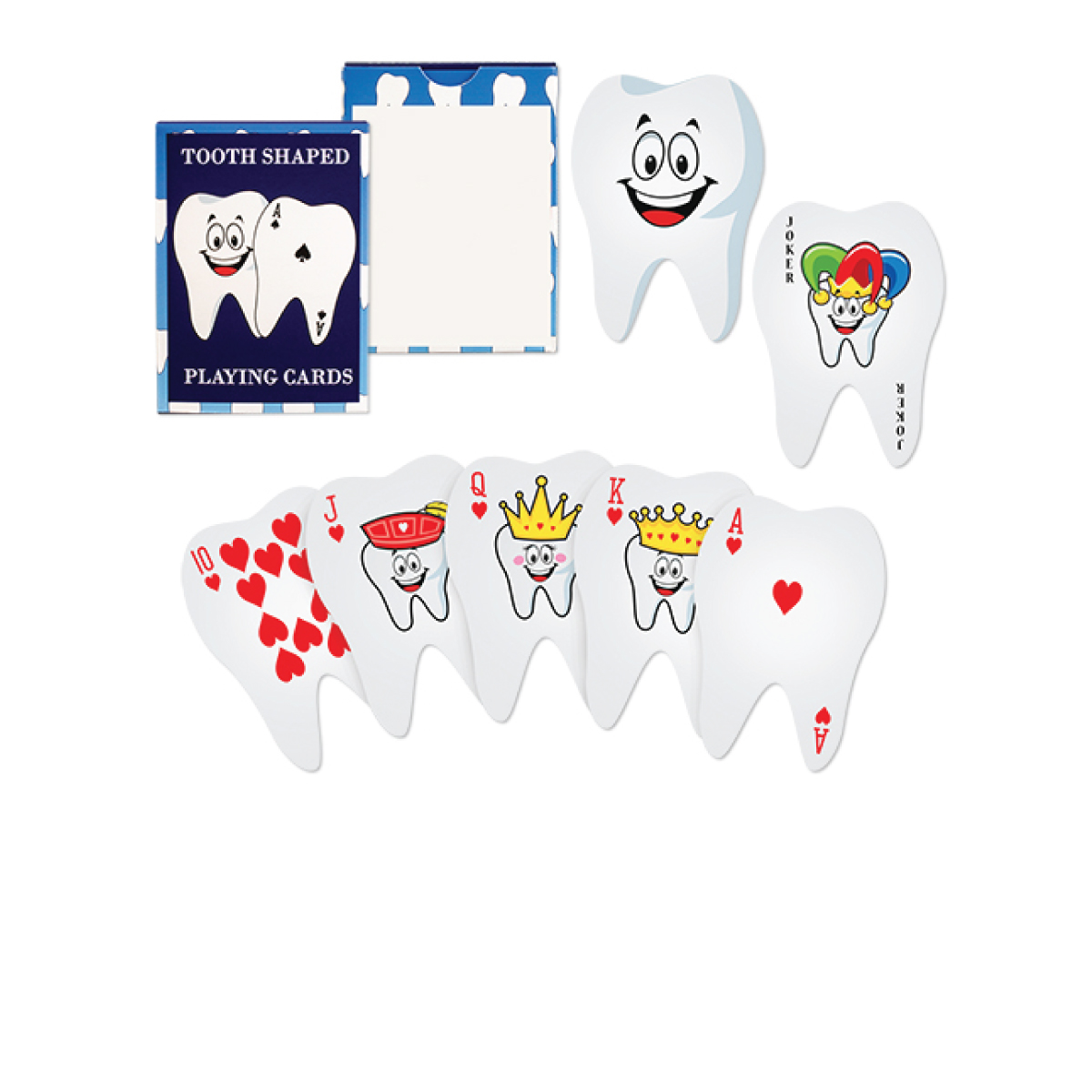 Screen Print 1 Color 1 Location Dental Tooth Shaped Playing Cards