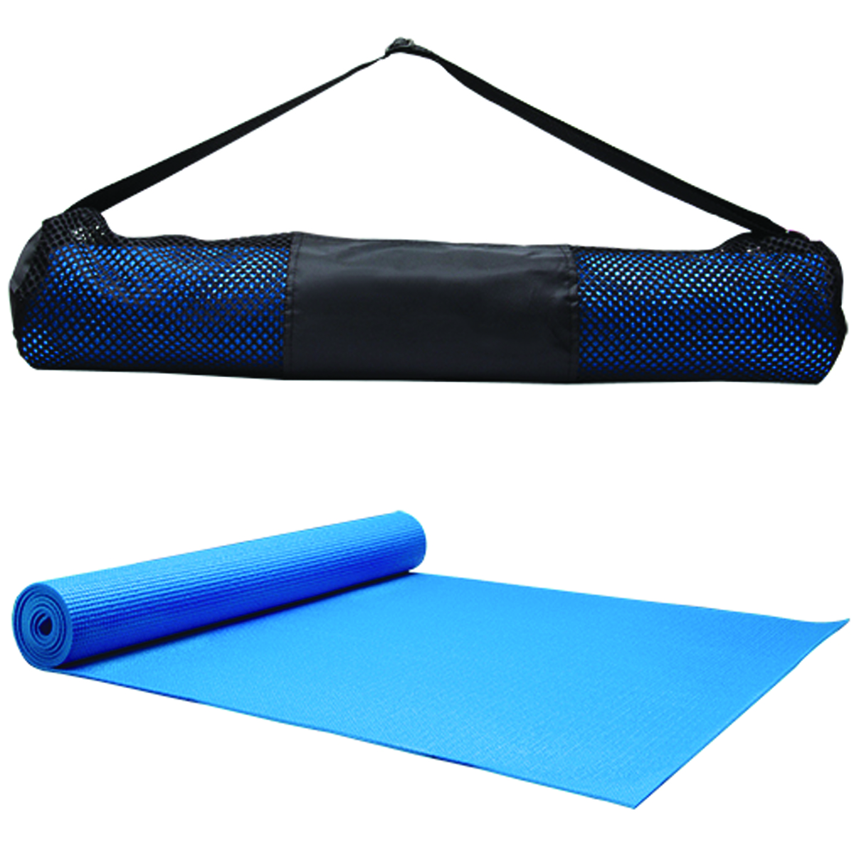 Blue Yoga Fitness Mat & Carrying Case