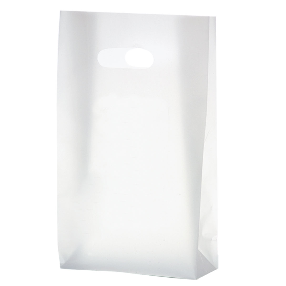"""Clear Frosted Die Cut Tote (7""""W x 3.5""""G x 12""""H)-Flexo Ink"""