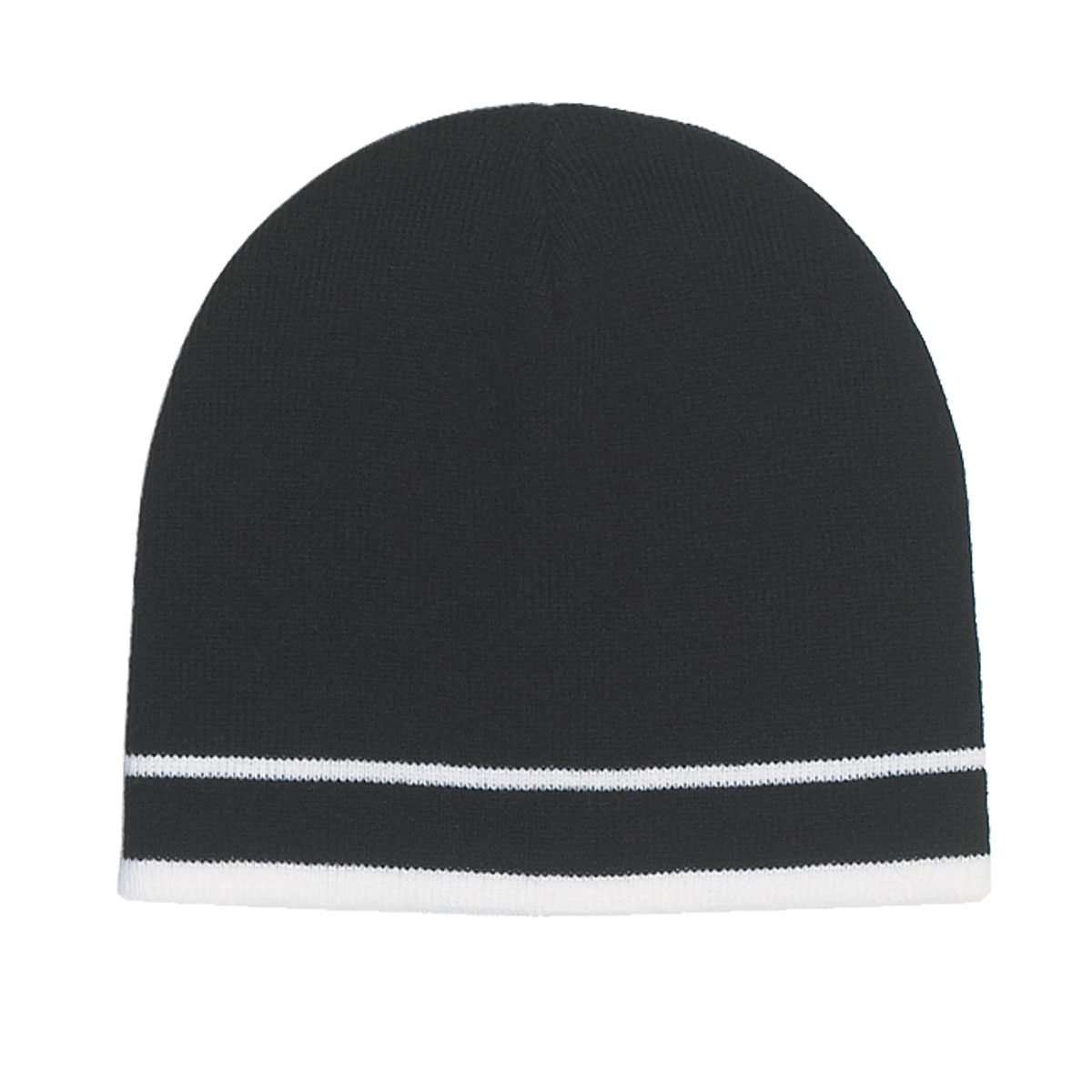 Black with White Stripe Knit Beanie With Double Stripe