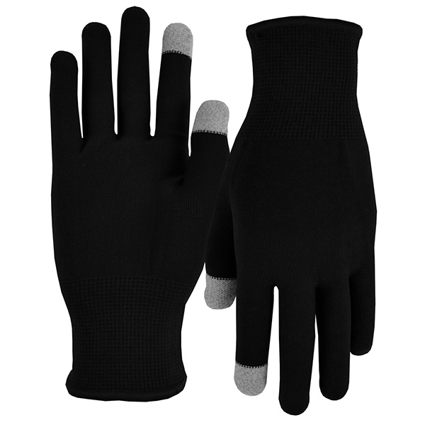 Black Sports Performance Runners Text Gloves