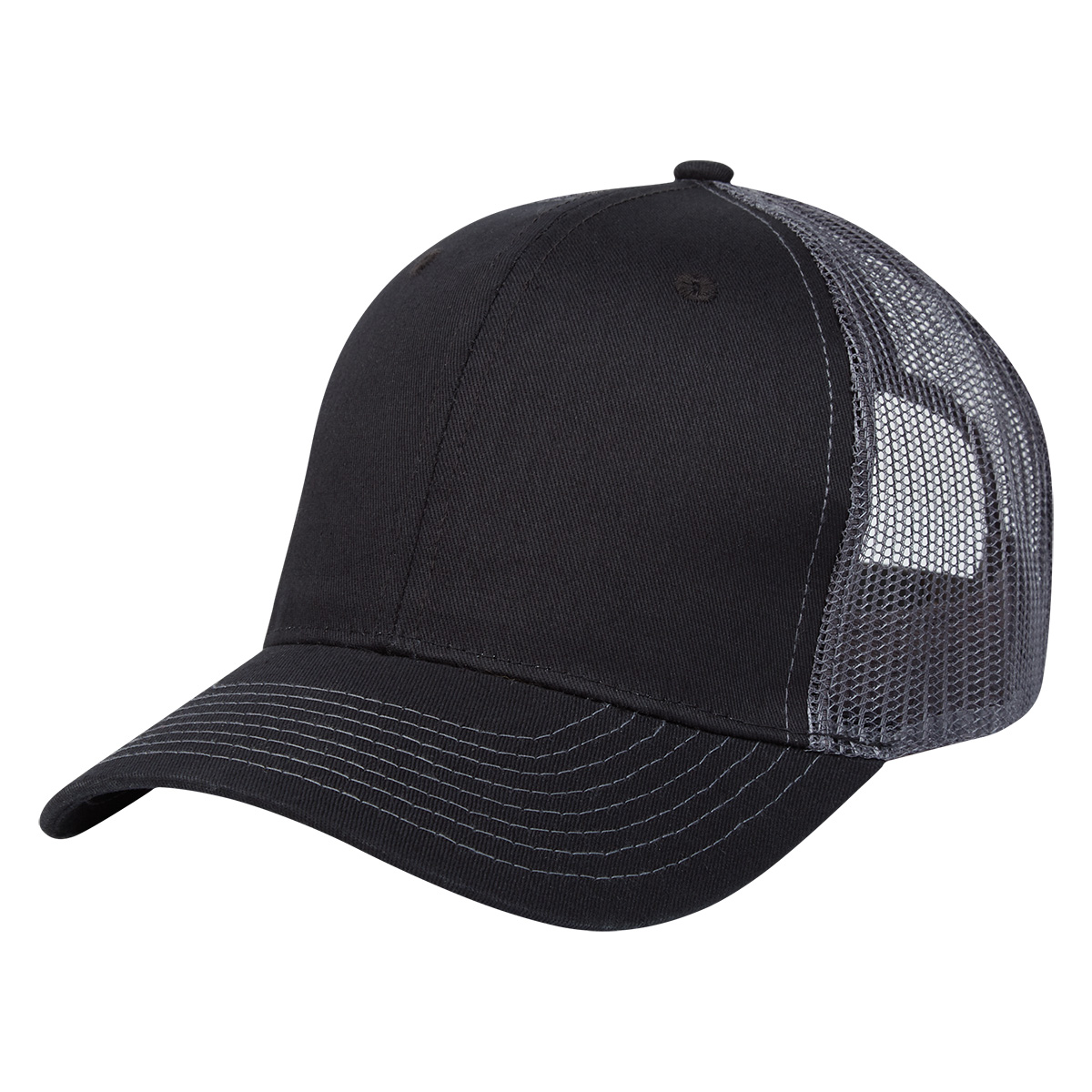 Black with Gray Mesh Cotton Twill Mesh Back Cap