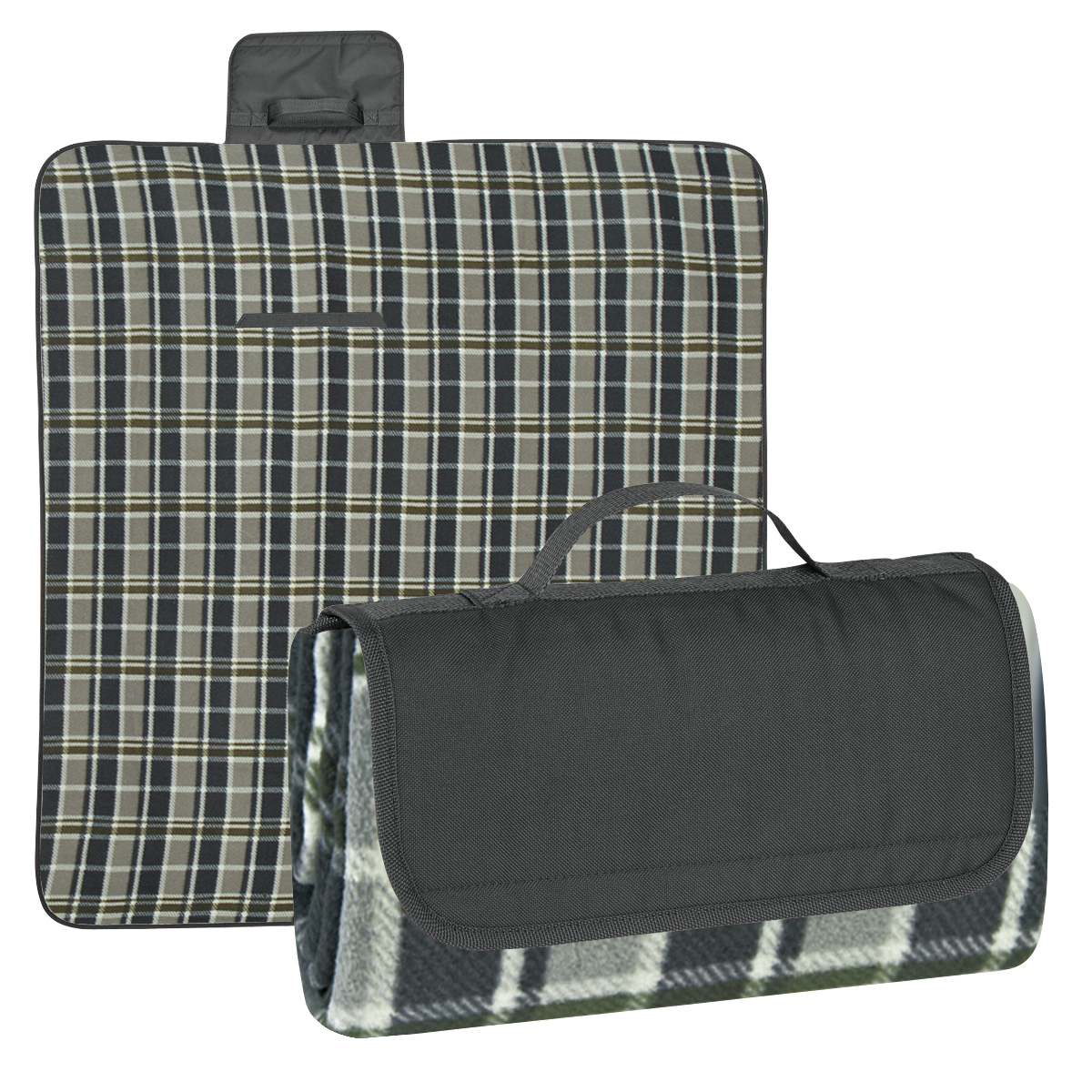 Black Flap with Black and Gray Plaid Blanket Roll-Up Picnic Blanket
