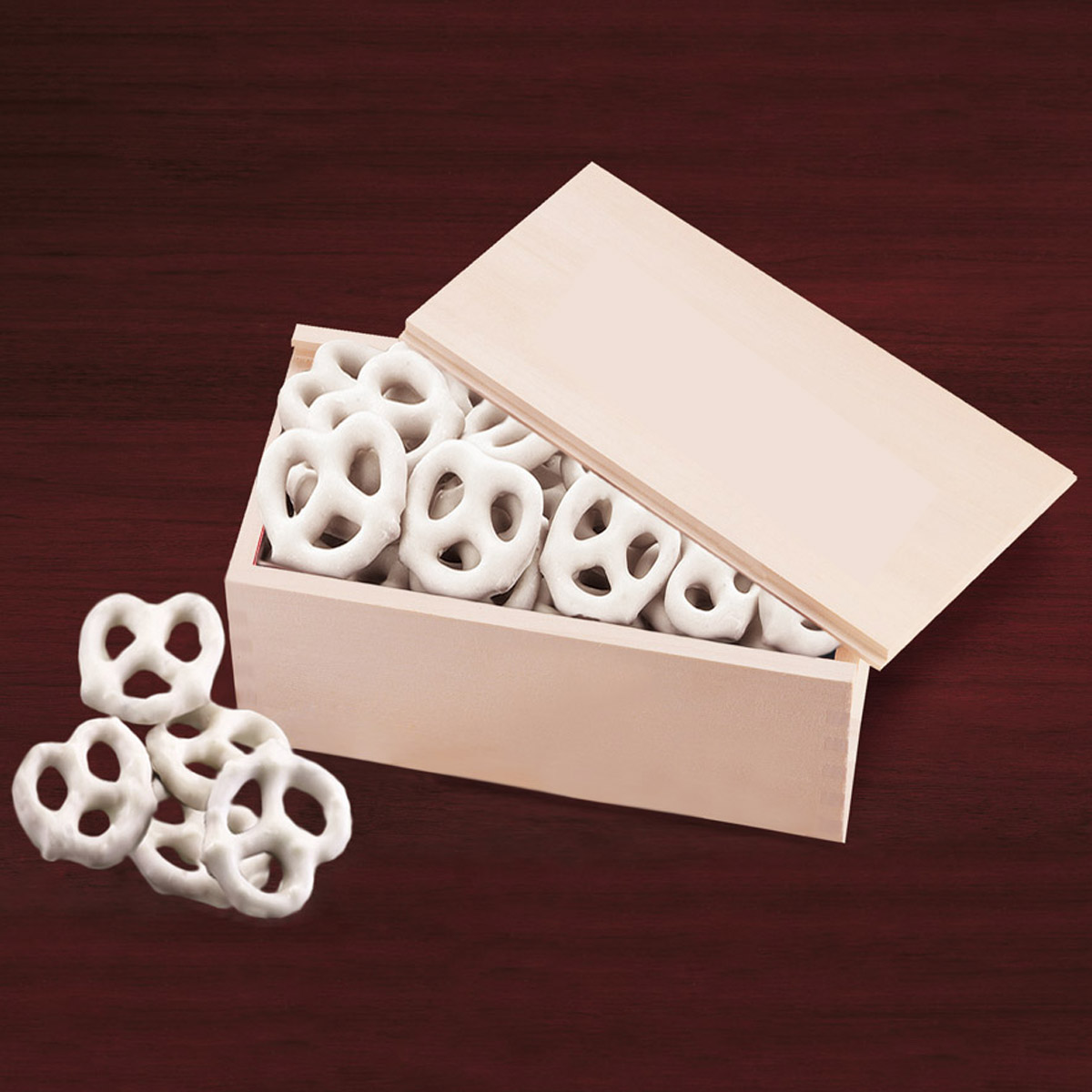 Wood Frosted Pretzels in Wooden Collector's Box