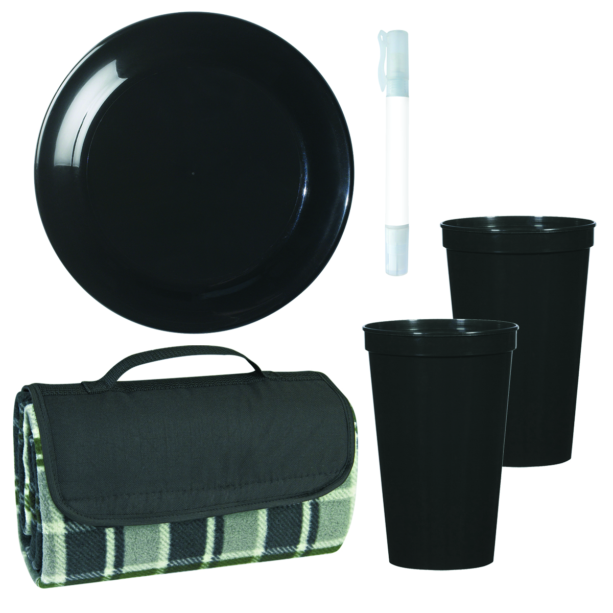 Black (Black/Gray Plaid Blanket, Black Discus and Stadium Cups) Picnic In The Park Kit