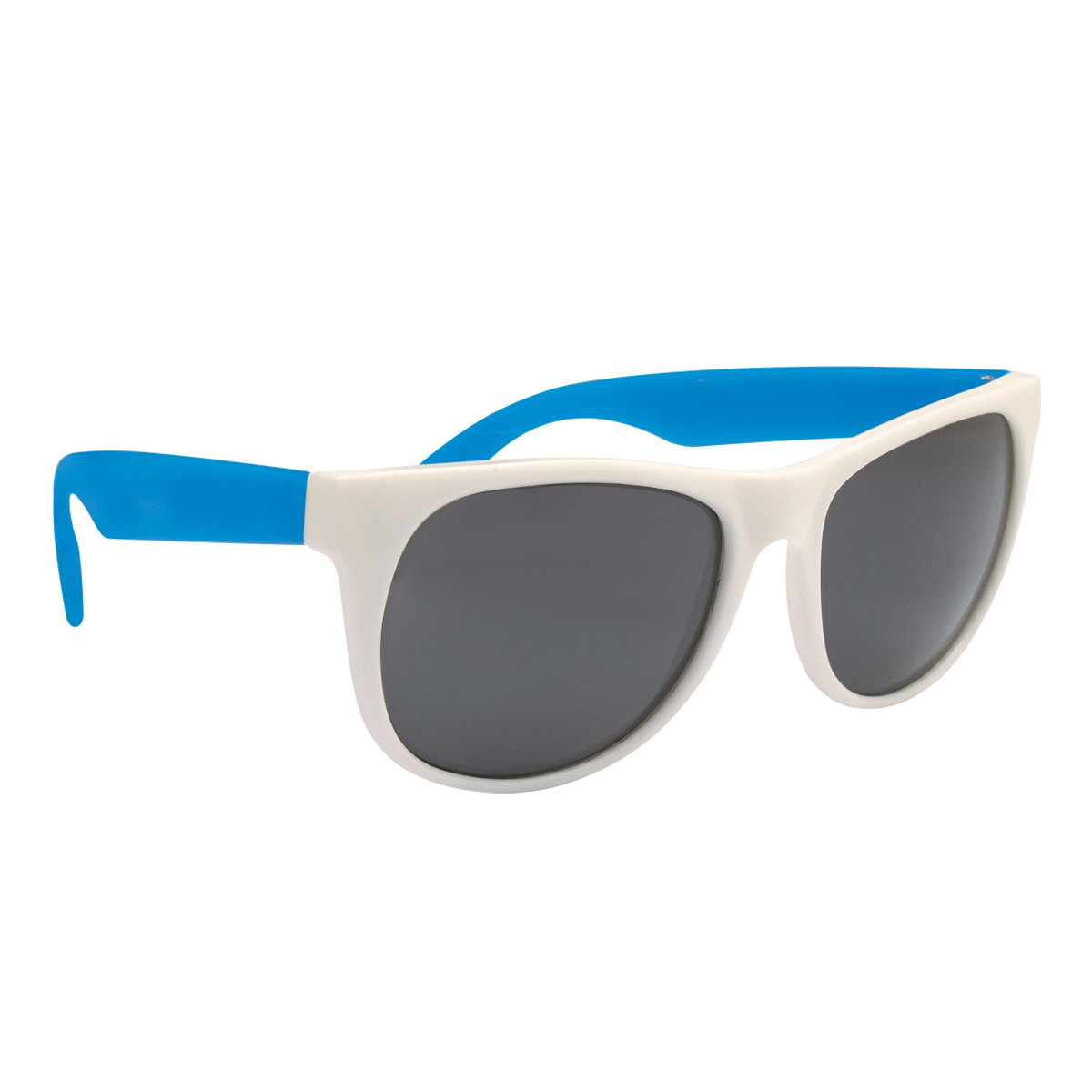 Black Frame with Blue Temples Rubberized Sunglasses