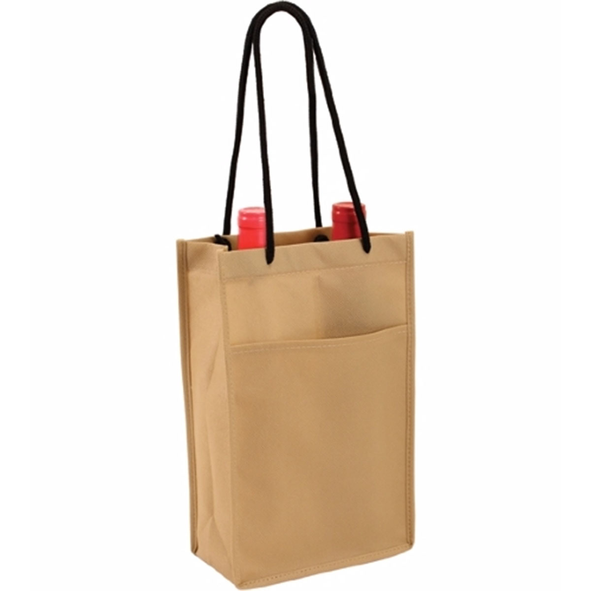 Beige Non-Woven Double Bottle Wine Bag